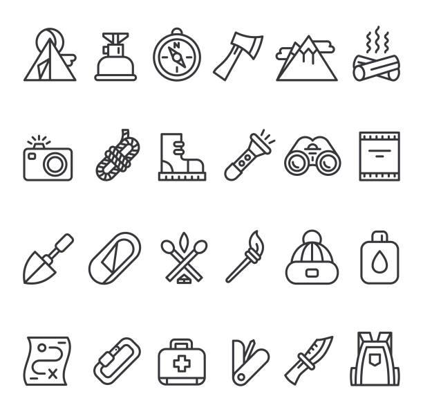 camping survival icon set - пищевая цепь stock illustrations