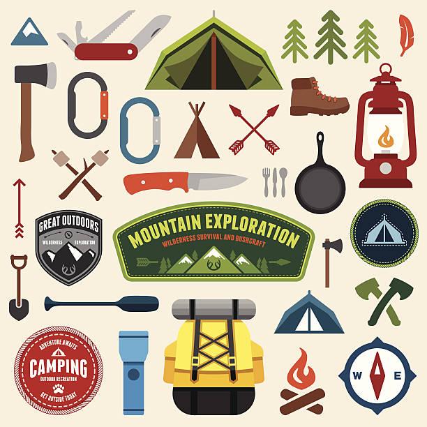 Camping symbols vector art illustration