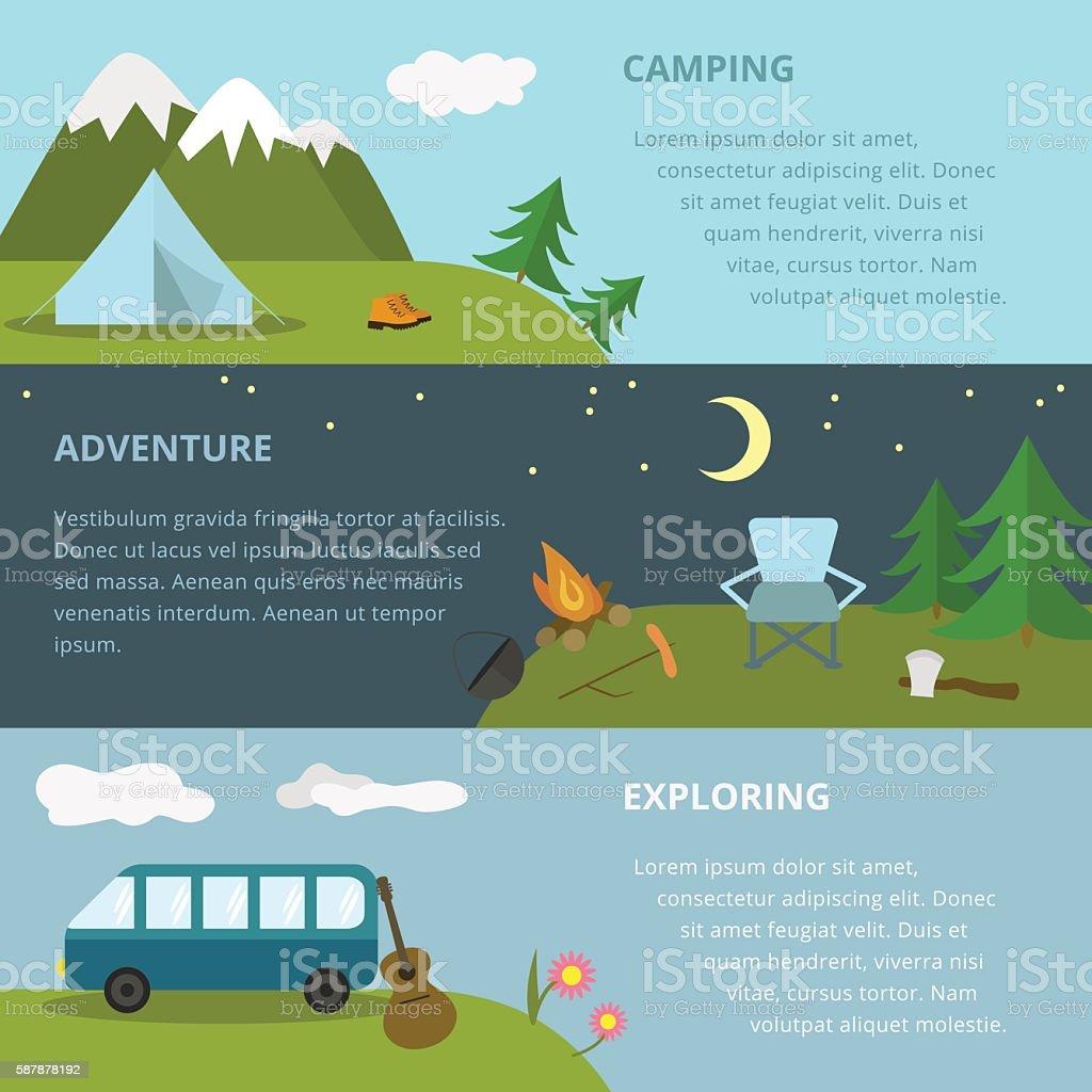 Camping Template - Arte vectorial de stock y más imágenes de A la ...