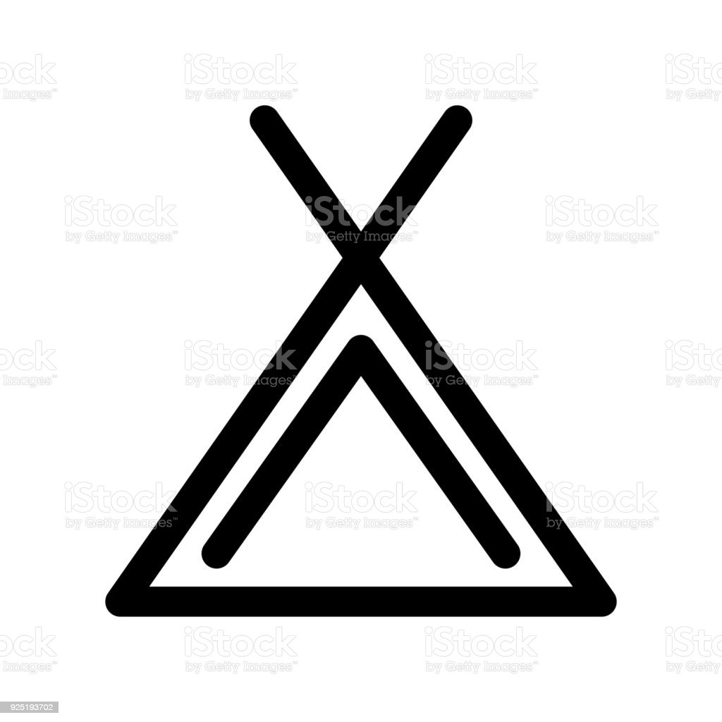 Camping Tent Icon Symbol Of Campsite Outline Modern Design Element Simple Black Flat