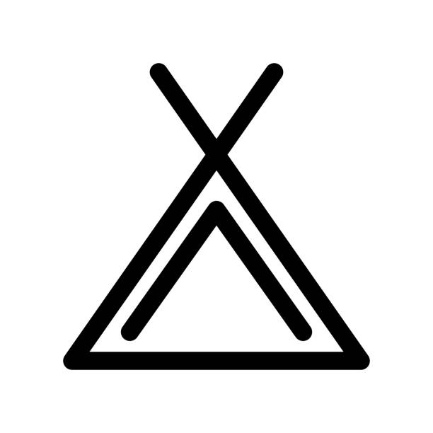 Camping tent icon. Symbol of campsite. Outline modern design element. Simple black flat vector sign with rounded corners Camping tent icon. Symbol of campsite. Outline modern design element. Simple black flat vector sign with rounded corners. teepee stock illustrations