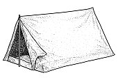 Camping tent illustration, drawing, engraving, ink, line art, vector