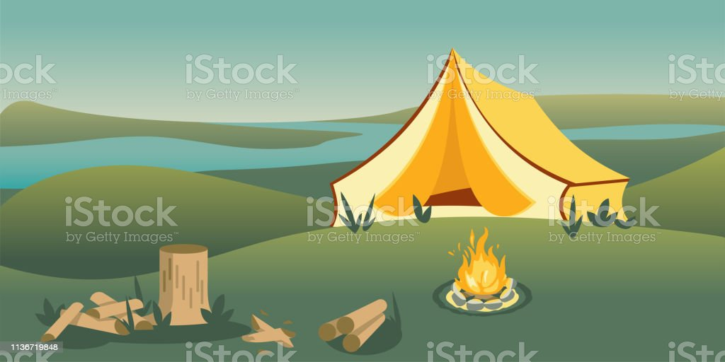 Camping tent on hill flat vector illustration. Picturesque panoramic...