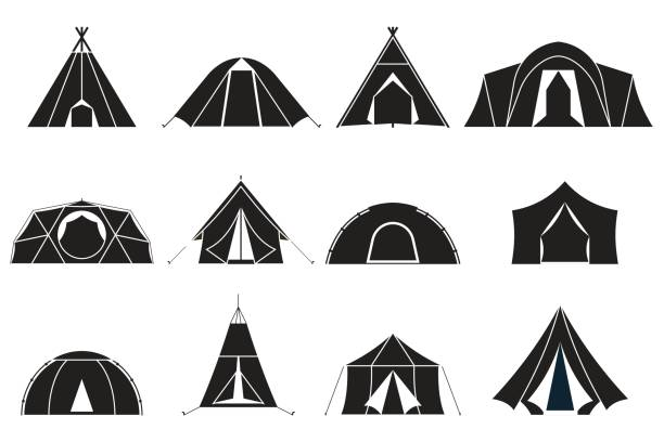 Camping Tents Icons Set vector art illustration