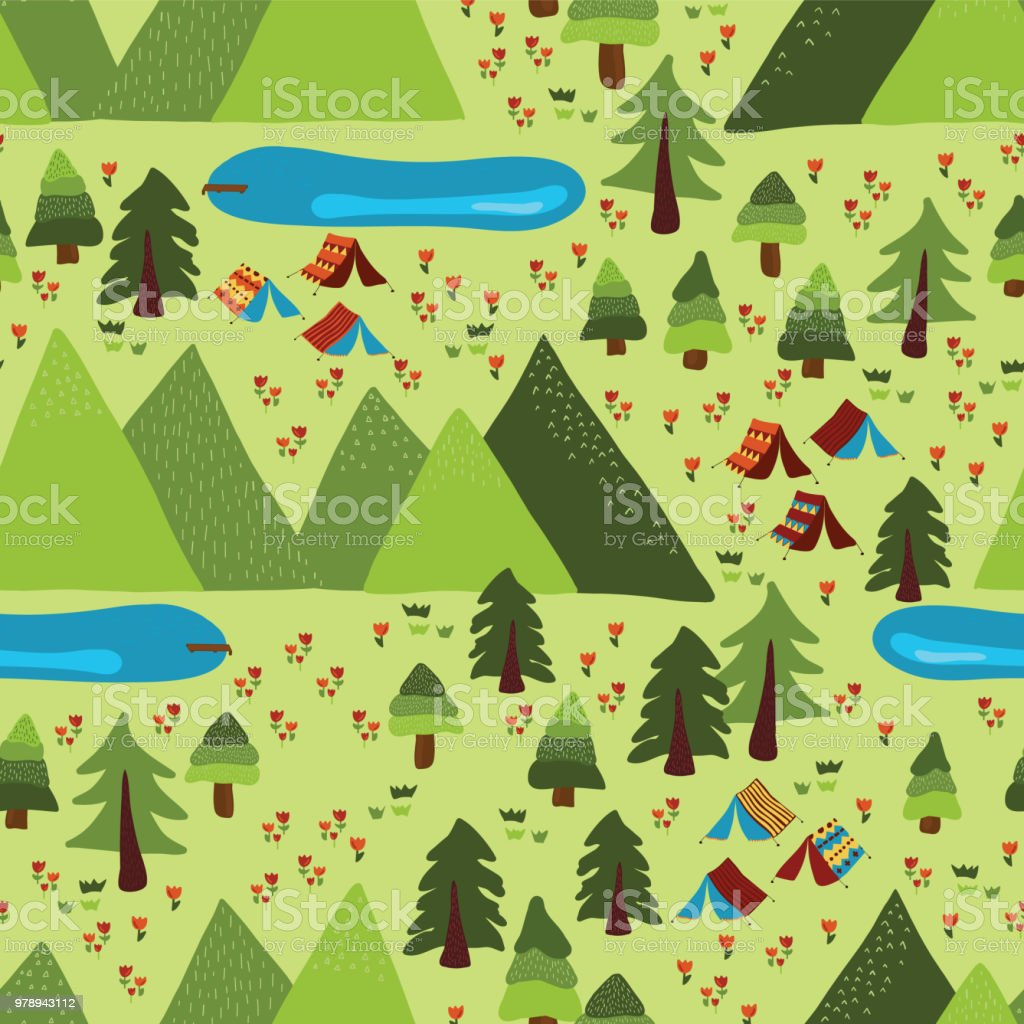 Camping tents, trees, lakes, meadow, and mountains. Seamless vector pattern. vector art illustration