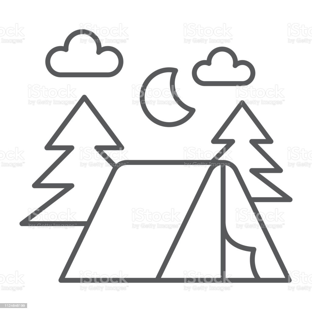 Camping thin line icon, nature and hiking, camp sign, vector...