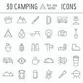 Camping Thin Line Icon Set of Adventure Elements