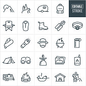 A set of camping icons that include editable strokes or outlines using the EPS vector file. The icons include a mountain range, river and pine trees, camper trailer, backpack, camp chair, sleeping bag, boots, multi-tool, headlamp, pocketknife, flashlight, camper, grill with flame, water bottle, tent, binoculars, camp stove, photographs, gps, camp trailer, fire, fire pit, fish cooking in frying pan, park bench and a hiker hiking to name a few.