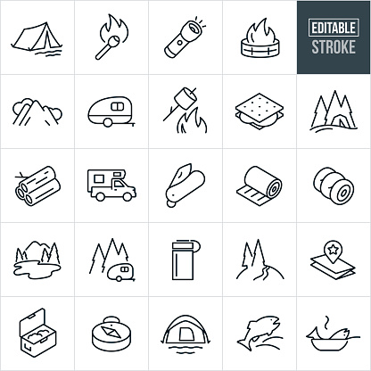 Camping Thin Line Icons - Editable Stroke