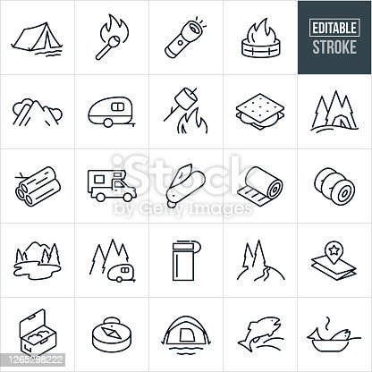 A set of camping icons that include editable strokes or outlines using the EPS vector file. The icons include a tent, lit match stick, flashlight shining, fire in fire pit, mountains and clouds, camp trailer, roasting marshmallows over fire, s'more, tent in trees, firewood, truck camper, pocketknife, sleeping pad, sleeping bag, lake and mountains, camper in trees, water bottle, map, open cooler, compass, dome tent, fish jumping and a fish in a frying pan.