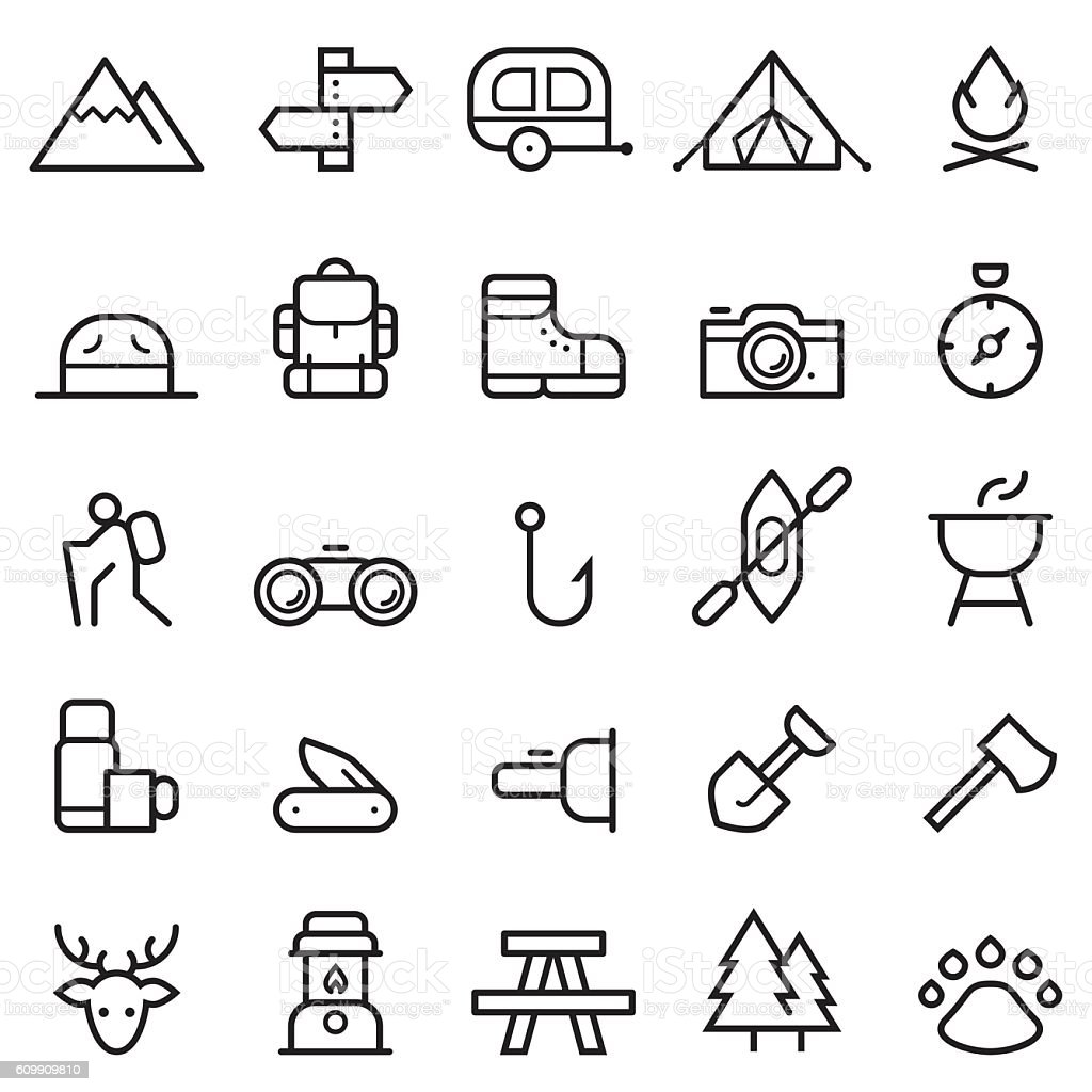 Camping Thin Line Icons vector art illustration