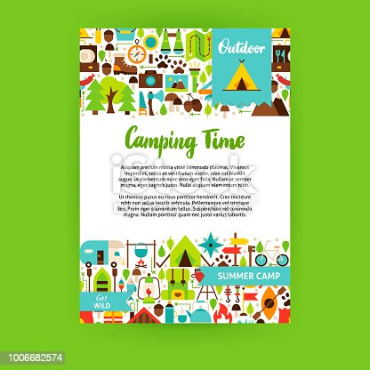 Camping Time Poster. Flat Design Vector Illustration of Brand Identity for Adventure Promotion.