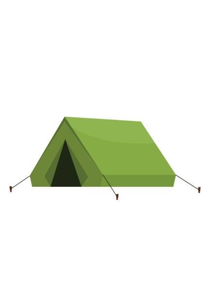 touristischen outdoor campingzelt isoliert auf weißem hintergrund - dachzelt stock-grafiken, -clipart, -cartoons und -symbole