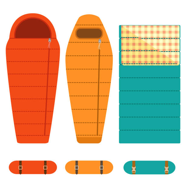 Camping Tourist Sleeping Bags Set Vector Art Illustration