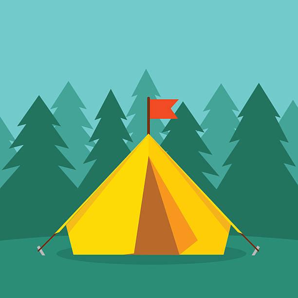 touristen camping zelt auf wald landschaft vektor-illustration - dachzelt stock-grafiken, -clipart, -cartoons und -symbole