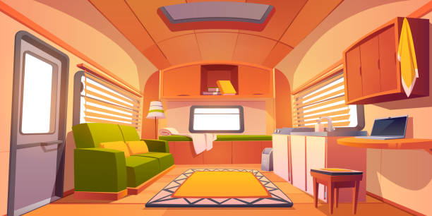 Camping trailer car interior, rv motor home room Camping trailer car interior with bed, couch, sink, desk with laptop, bookshelf and jalousie on windows. Rv motor home room inside view, cozy place for living and sleeping, Cartoon vector illustration rv interior stock illustrations
