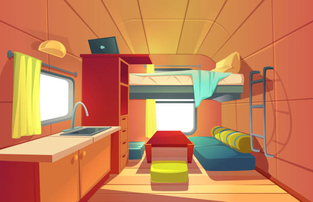 Camping trailer car interior with loft bed rv home Camping trailer car interior with loft bed, couch, kitchen sink, desk with laptop, bookshelf and window. Rv motor home room inside view, cozy place for living and sleeping, Cartoon vector illustration rv interior stock illustrations