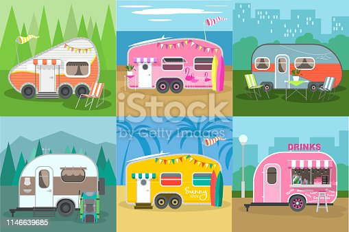 Travel trailer vector concept set.