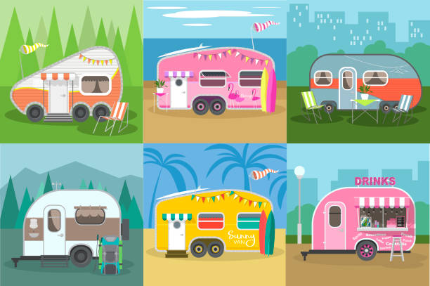 stockillustraties, clipart, cartoons en iconen met camping trailer caravan collectie. reiziger vrachtwagen campingplaats landschap. bergen, bossen, zee strand en road trip. caravans met verschillende landschappen. - caravan