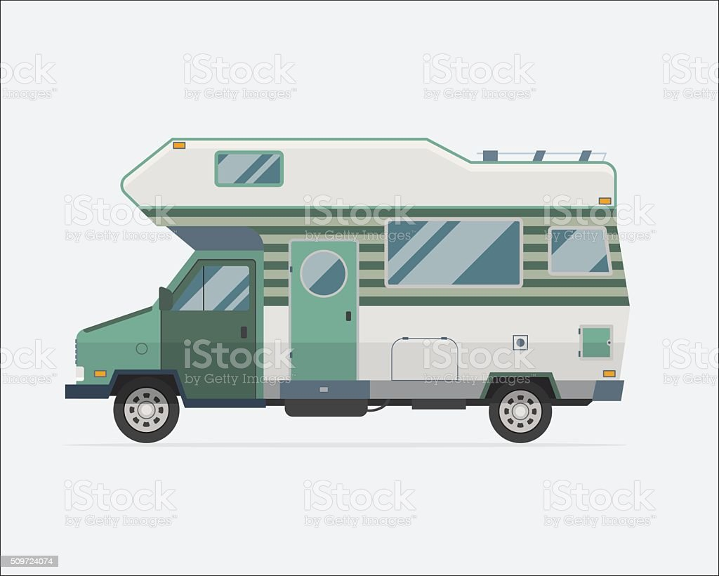 Camping Trailer Family Traveler Truck Flat Style Icon Camping trailer family caravan. Traveler truck camper flat style icon isolated on white. Vector vacation RV travel illustration.  Road travel trailer vector. Camping stock vector