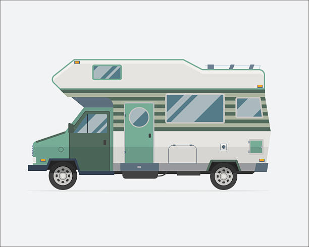Camping Trailer Family Traveler Truck Flat Style Icon Camping trailer family caravan. Traveler truck camper flat style icon isolated on white. Vector vacation RV travel illustration.  Road travel trailer vector. rv interior stock illustrations