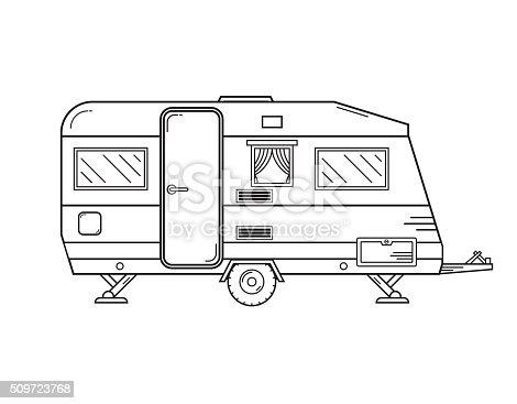 Camping Trailer Family Traveler Truck Outline Icon Stock