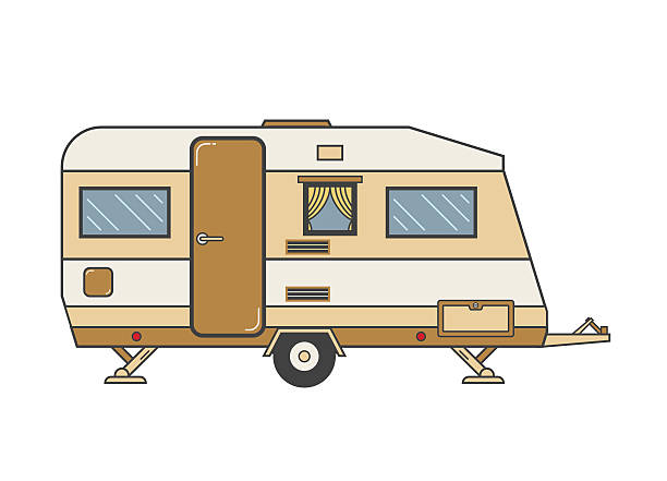 Camping Trailer Family Traveler Truck Outline Icon Camping trailer family caravan. Traveler truck camper outline icon in thin line design. Vector flat vacation RV illustration isolated on white background rv interior stock illustrations