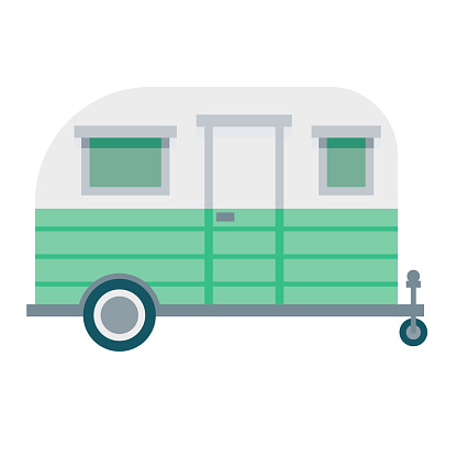 Camping Trailer Icon on Transparent Background