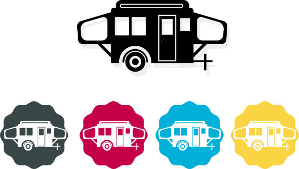 Camping Trailer  Icon Set of Travel Trailer's illustration is AI10 EPS rv interior stock illustrations