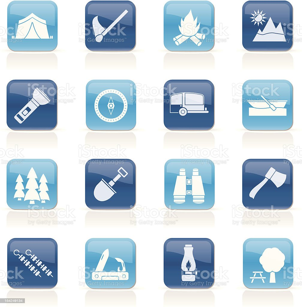 Camping, travel and Tourism icons royalty-free camping travel and tourism icons stock vector art & more images of axe