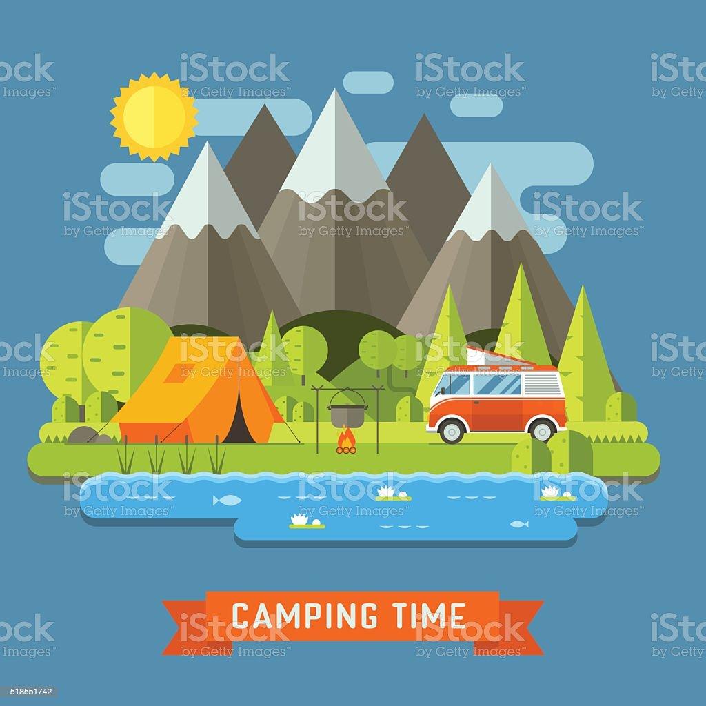 Viajes de acampada paisaje con casas rodantes Camper plana - ilustración de arte vectorial
