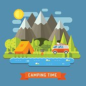 Camping Travel Flat Landscape with RV Camper