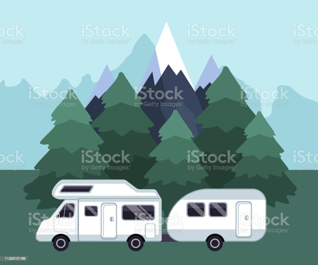 Camping travel landscape. Camping van on a camping site. Road trip...