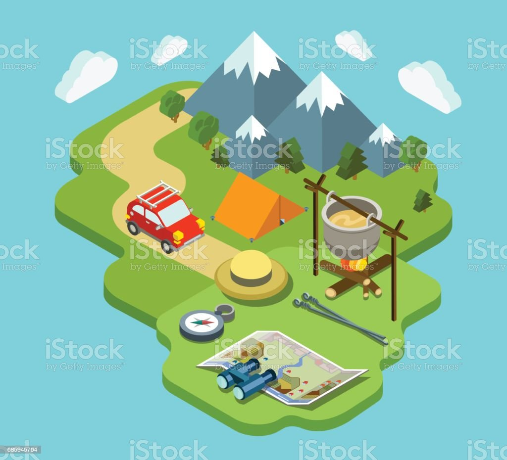 Camping Travel Outdoor Active Vacation Flat 3d Isometric