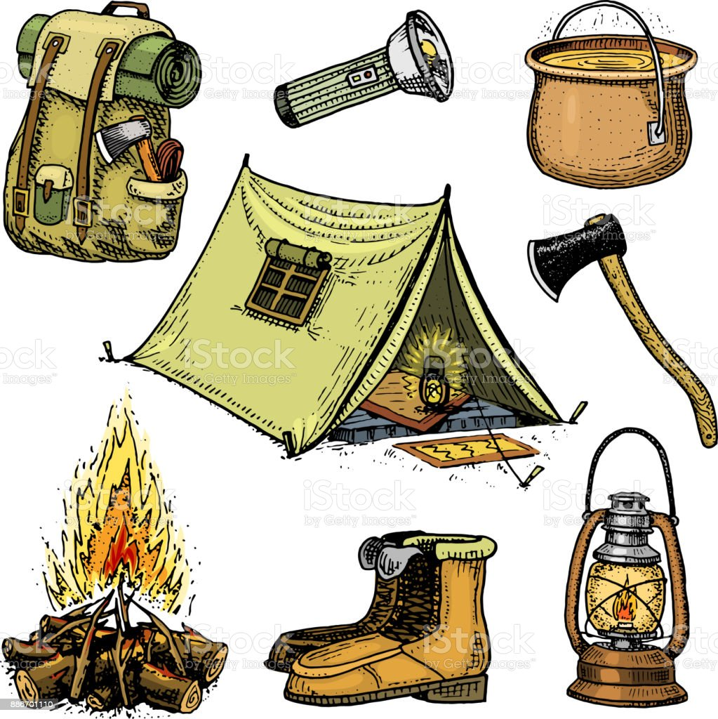 camping trip, outdoor adventure, hiking. Set of tourism equipment. engraved hand drawn in old sketch, vintage style for label. backpack and lantern, tent and saucepan, axe and boots, lantern and fire vector art illustration