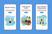 Camping trip with fishing onboarding mobile app screen flat vector template. Walkthrough website 3 steps with characters. Creative UX, UI, GUI smartphone cartoon interface, case prints set