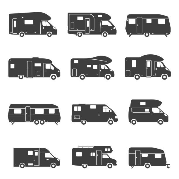stockillustraties, clipart, cartoons en iconen met camping trucks zwart glyph icons vector set - caravan