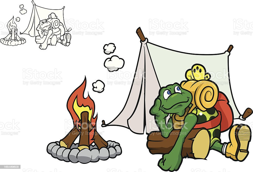 Camping Turtle royalty-free camping turtle stock vector art & more images of backpack