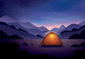 istock Camping under starry night sky 1207738626