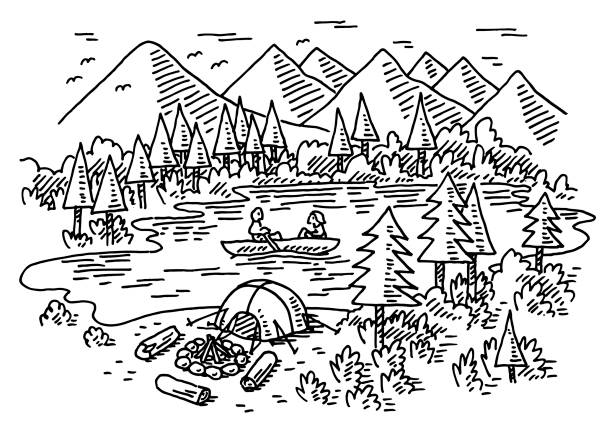 camping vacation on a lake drawing - black and white mountain stock illustrations, clip art, cartoons, & icons