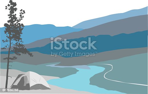 A vector silhouette illustration of a valley landscape with a winding river below blue mountain ranges and a campsite set up in the bottom left corner with a tent beside a tree.