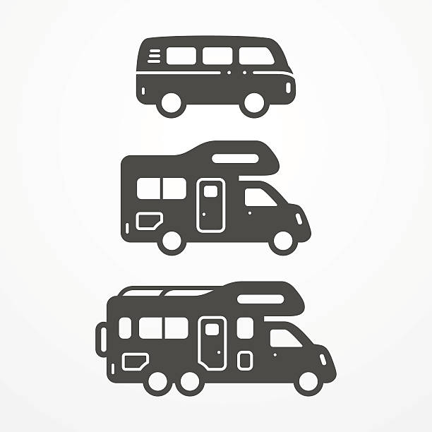 Camping van set Collection of camping van icons. Travel van symbols in silhouette style. Camping vans vector stock illustration. Vans and RVs with camping equipment. motor home stock illustrations