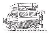 Hand-drawn vector drawing of a Camping Van, Summer Vacation. Black-and-White sketch on a transparent background (.eps-file). Included files are EPS (v10) and Hi-Res JPG.