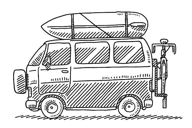 Camping Van Summer Vacation Drawing Hand-drawn vector drawing of a Camping Van, Summer Vacation. Black-and-White sketch on a transparent background (.eps-file). Included files are EPS (v10) and Hi-Res JPG. transportation stock illustrations