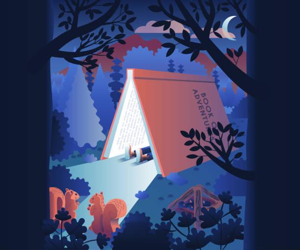 bildbanksillustrationer, clip art samt tecknat material och ikoner med camping vektor bok begreppet äventyr och läsning - reading a book