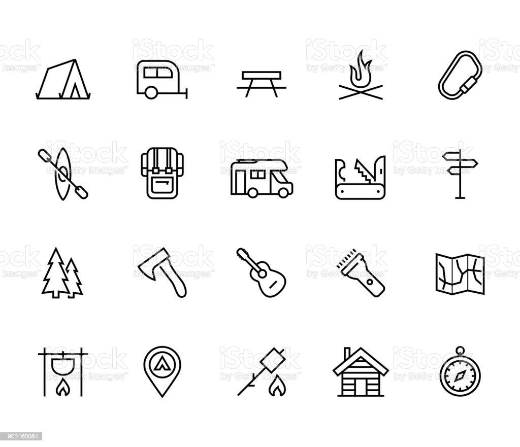 Camping vector icon set in thin line style - Royalty-free Acampar arte vetorial
