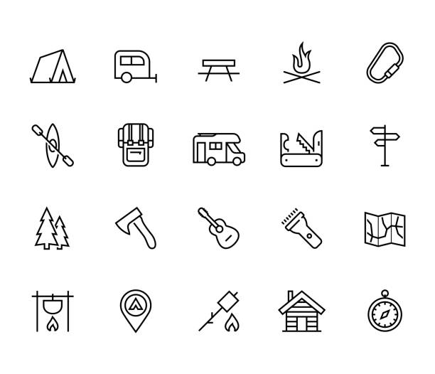 Camping vector icon set in thin line style vector art illustration