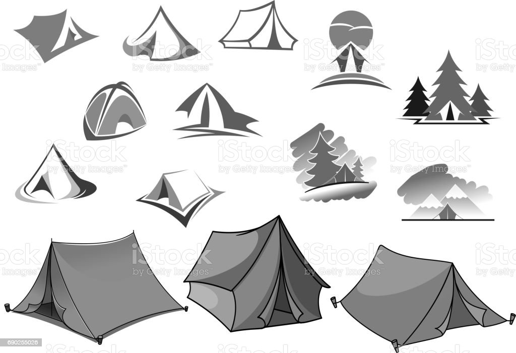 Camping vector icons of camp tent in forest vector art illustration