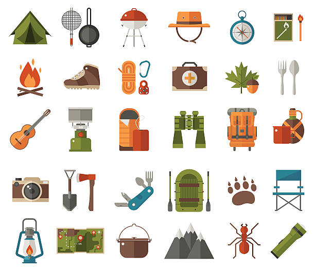 Camping Vector Icons vector art illustration