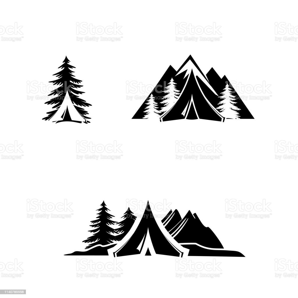 Camping outdoor adventure emblems, badges. Mountain tourism, hiking....